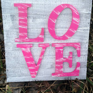 3d Wooden Woodland Sign with Wooden Letters Love Hot Pink Wall Filler Rustic Wood Sign Home Decor Barnwood