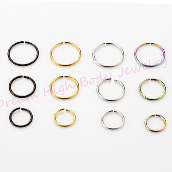 Fake Nose ring Hoop Clip On Ear Earring Lip Stud Plain 316L Surgical Steel Body Piercing Jewelry Non Septum Black Gold 18G 20G