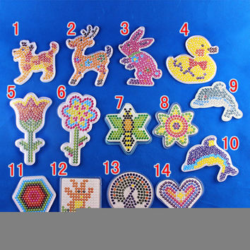 10 Piece Lot 5mm Hama Beads Template With Colore Paper Plastic Stencil Jigsaw Perler Beads Diy Transparent Shape Puzzle Pegboard