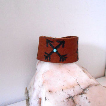 Leather Cuff Bracelet with Turquoise Gemstone, Hand Drawn Native American Symbols, Friendship Arrows, Hippie, Boho, Gypsy, Natural Buffalo