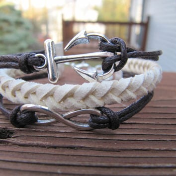 USA Seller- Anchor and Infinity Tan and Brown Friendship Charm Bracelet