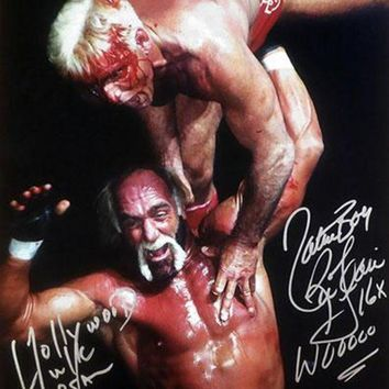 VONE05 Hollywood Hulk Hogan & Nature Boy Ric Flair Signed Autographed Glossy 16x20 Photo (ASI COA)