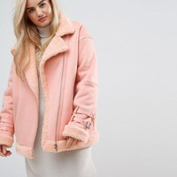 ASOS CURVE Aviator Jacket in Faux Leather at asos.com
