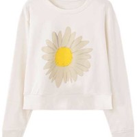 ROMWE | Daisy Print White Pullover, The Latest Street Fashion