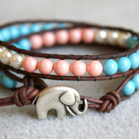 Swarovski Pearls Bohemian beaded leather wrap bracelet, 2x Wrap bracelet, boho chic, Chan Luu, blue, pink, coral, white, elephant, good luck