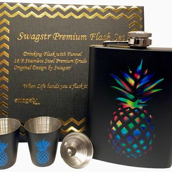 Rainbow Pineapple Flask Funnel and Shot Glass Boxed Gift Set - 18/8 Stainless Steel 8oz Hip Flasks for Drinking Alcohol Liquor Whiskey