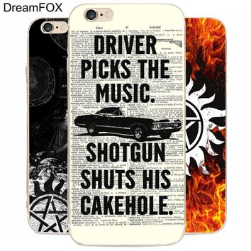 DREAM FOX K219 Supernatural Impala Old Transparent Hard Thin Case Cover For Apple iPhone XR XS Max 8 X 7 6 6S Plus 5 5S SE 5C 4