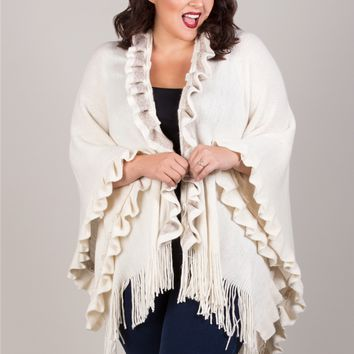 Plus Size Accessories | Luxurious Ruffle Poncho | Swakdesigns.com