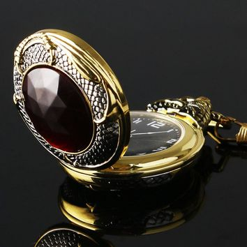 Vintage Gold Pocket Watch Men Evil Dragon New Golden Tone Case Big Red Crystal Retro Red Garnet Inset  Luxury Necklace Gift