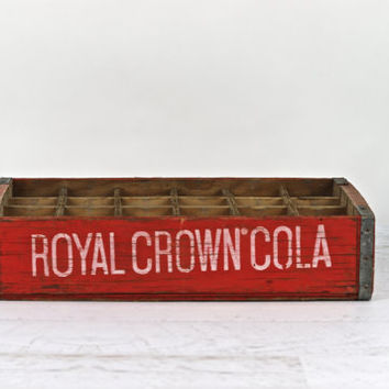 Wooden Soda Crate, Vintage Wood Pop Crate, Royal Crown Cola Wood Crate, Industrial