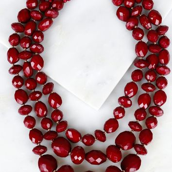 Multi Layered Geometric Necklace Maroon