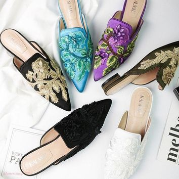 Hot Women Pointy Toe Slingback Vogue Embroidery Slipper Fashion Floral New Shoes