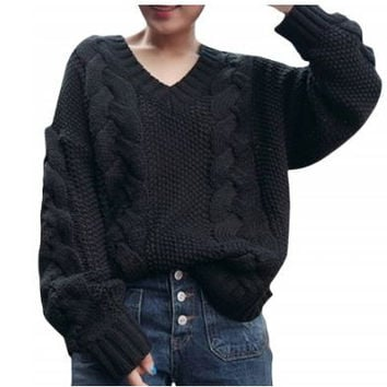 V Neck Loose Fit Vintage Sweater