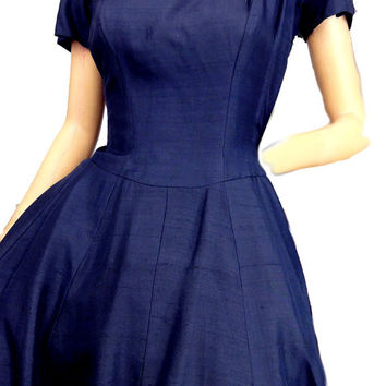 Cocktail Dress Vintage 1950s Party Dress Navy Blue Full Skirt Short Sleeves Suzy Perette