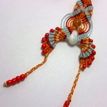 Macrame hair accessory made with wax cord, yellow dragon veins agate beads mexican opal beads