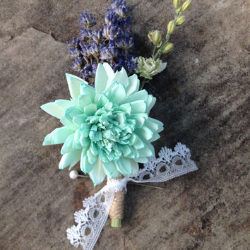 Handmade Wedding Boutonnieres - Aqua Blue Sola Zinnia Flower, French Lavender Boutonnieres, Larkspur Boutonnieres, Twine, Lace Ribbon