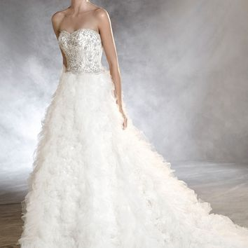 Pronovias Onoria Strapless Tulle A-Line Gown (In Stores Only) | Nordstrom