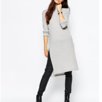 Light Gray Side Slit Knit Dress