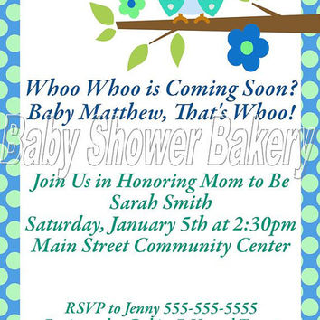 Printable Baby Shower Invitation, Owl Baby Shower Invitation, Boy Owl Baby Shower, Blue and Green Owl Baby Shower Invitation