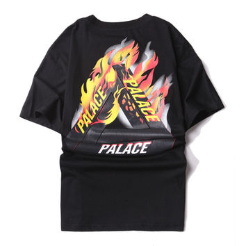 Fire Palace Fashion Cotton Tee Round-neck Short Sleeve T-shirts