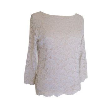 Taupe Lace Boatneck Blouse Size Medium
