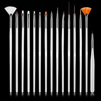2017 New 4-Color 15pcs Nail Art Decorations Brush Set Tools Nail DIY Painting Pen False Nail Tips UV Nail Gel Polish Sale Gift