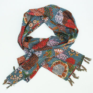 Scarf in Pretty Greyish Blue - Hand dyed and hand stitched