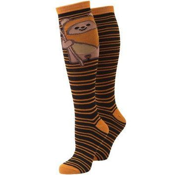 Star Wars Smiling Ewok Striped Women's Knee High Socks - Brown
