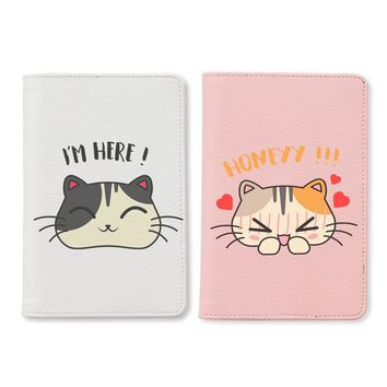 Cute Cartoon Cat Couple Passport Holders