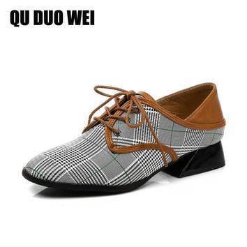 2018 New Spring Autumn British Style Women Flat Shoes Fashion Plaid Pu Leather Oxford Shoes Woman Casual Slingback Creepers