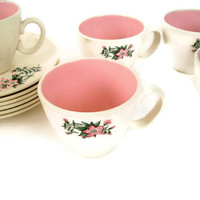 Mid Century Vintage Taylor Smith Taylor Cups and Saucers Ever Yours Lady Marguerite Pattern Pink and Green Set of 5