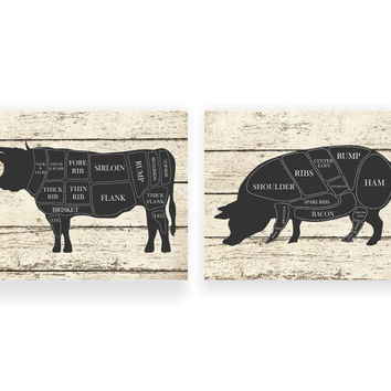 Kitchen Art Print Cow And Pig Hog Butcher Diagram Set Of Two 5x7 8x10