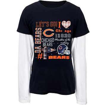 Chicago Bears - Rhinestone Spirit Girls Youth 2fer Long Sleeve T-Shirt