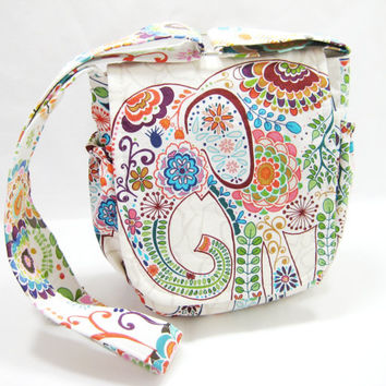 Elephant Messenger Bag, Small Elephant Cross Body Bag, Made to Order