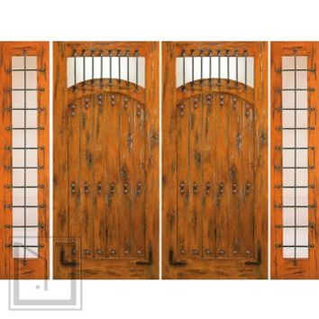 Prehung Double Door with Two Sidelites, Entry, Knotty Alder