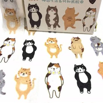 lovely cat washi tape 7M standing Cat street cat fat cat super Cute cat meow meow kitten masking tape cat themed cat diary planner deco tape
