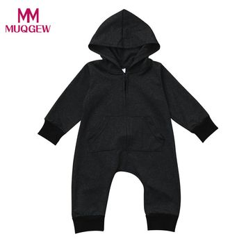 Fashion Trendy Toddler Baby Boys Girls Solid Zipper Long Sleeve Hoodie Romper Jumpsuit Autumn Winter Warm Kids Jumpsuit Clothes