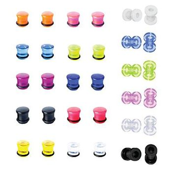 BodyJ4You Plugs Kit Gauges Tunnels Acrylic Silicone Ear Stretching Double Flare Screw Fit 6G Set 32 Pieces