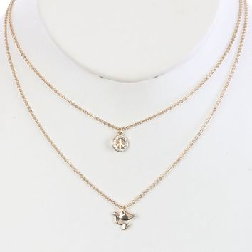 Clear 2Pc Peace Symbol Charm Chain Necklace