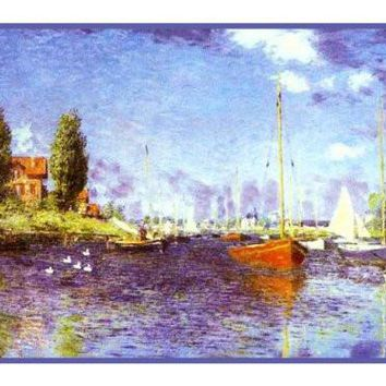 Red Boats at Argenteuil inspired by Claude Monet's impressionist painting Counted Cross Stitch or Counted Needlepoint Pattern