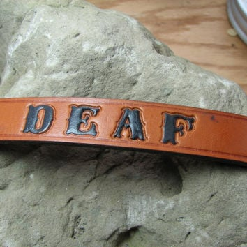 Custom made leather dog collar, hand stamped and painted deaf medical alert