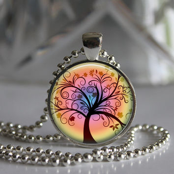 Whimsical tree of life round glass pendant necklace