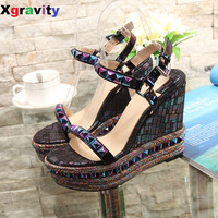 European American 2017 New Summer Shoes Genuine Leather Rivets High Heel Wedge Sandals Fashion Woman's Platform Shoes ML3331