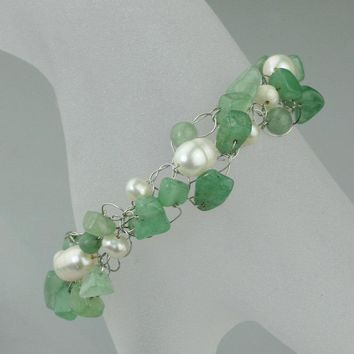 Chunky crocheted wiring jade pearl beaded Bracelet Bridesmaids gifts Free US Shipping handmade Anni Designs