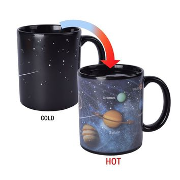 Novelty Magic Morning Coffee Mug 12 oz Color Changing Heat Sensitive Solar System Porcelain Tea Cup Unique Ideal Gifts