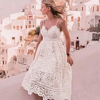 Elegant Strap Lace Dress Women Sexy Hollow Party Dress V Neck Backless Lace up Mid Dress