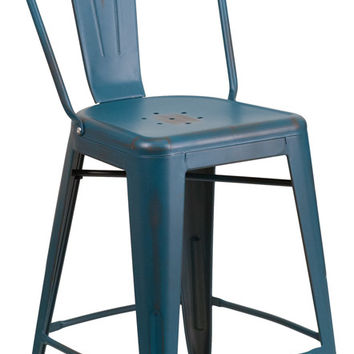 24'' High Distressed Kelly Blue Metal Indoor Counter Height Stool with Back