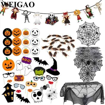 WEIGAO Halloween Decoration Horror Bunting Flags Black Lace Spiderweb Tablecloths Photo Booth Set Halloween Event Party Supplies