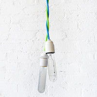 Neon Green Yellow Pendant Light with Tubular Bulb