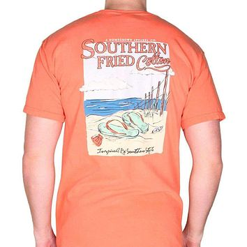 Flip Flops Pocket Tee in Salmon by Southern Fried Cotton